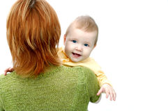 λευκό μητέρων μωρών Στοκ Εικόνες