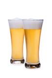 λευκό μπύρας ανασκόπησης glassover Στοκ Εικόνα