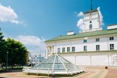 Λευκό που χτίζει το παλαιό Δημαρχείο στο Μινσκ, Λευκορωσία Στοκ Φωτογραφίες