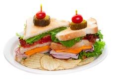 λευκό σάντουιτς λεσχών Στοκ εικόνα με δικαίωμα ελεύθερης χρήσης