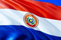 λευκό της Παραγουάης απεικόνισης σημαιών ανασκόπησης τρισδιάστατο σχέδιο σημαιών κυματισμού Το εθνικό σύμβολο της Παραγουάης, τρι διανυσματική απεικόνιση