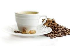 λευκό φλυτζανιών καφέ ανασκόπησης Στοκ Εικόνες