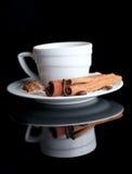 λευκό φλυτζανιών καφέ ανασκόπησης Στοκ Φωτογραφία