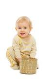λευκό χαμόγελου καλαθιών ανασκόπησης μωρών Στοκ Φωτογραφία
