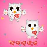 Λευκό Owlet στις καρδιές και στα φτερά Στοκ Φωτογραφίες