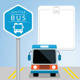 Λεωφορείο οχημάτων πυκνών δρομολογίων με το σημάδι, μπροστινή άποψη Διανυσματική απεικόνιση