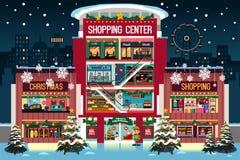 Λεωφόρος αγορών κατά τη διάρκεια της απεικόνισης Χριστουγέννων Στοκ Εικόνες