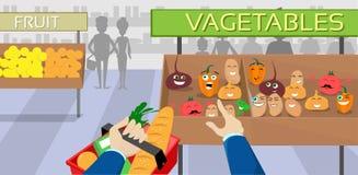 Λεωφόρος αγορών χαρακτηρών κινουμένων σχεδίων λαχανικών, δάχτυλο σημείου καλαθιών λαβής χεριών ελεύθερη απεικόνιση δικαιώματος