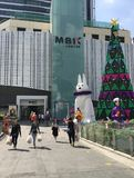 Λεωφόρος αγορών MBK που διακοσμείται για τα Χριστούγεννα, Μπανγκόκ Στοκ Εικόνα