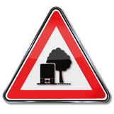 Λεωφόρος προειδοποίησης των δέντρων ως εμπόδιο Στοκ Εικόνα