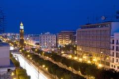 Λεωφόρος Habib Bourguiba Τυνησία πύργων 'Ενδείξεων ώρασ' Στοκ Εικόνες