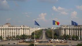 Λεωφόρος Unirii στο Βουκουρέστι σε μια ηλιόλουστη ημέρα απόθεμα βίντεο