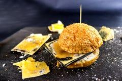 Ληγμένο γρήγορο φαγητό Κουλούρι για Burger και το χαλασμένο τυρί Επιβλαβής DA Στοκ φωτογραφία με δικαίωμα ελεύθερης χρήσης