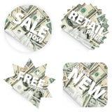 Λιανικές αυτοκόλλητες ετικέττες χρημάτων στοκ εικόνα