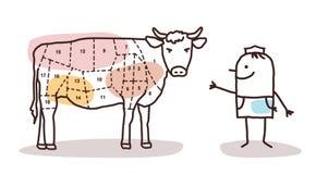Λιανοπωλητής τροφίμων - χασάπης και βόειο κρέας διανυσματική απεικόνιση