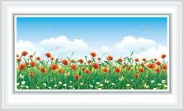 Λιβάδι λουλουδιών στο υπόβαθρο μπλε ουρανού Στοκ Φωτογραφίες