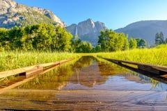Λιβάδι με τις πλημμυρισμένες πτώσεις θαλασσίων περίπατων και Yosemite Στοκ εικόνες με δικαίωμα ελεύθερης χρήσης
