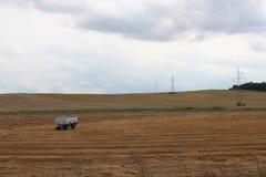 Λιβάδι τομέων τοπίων μετά από τη συγκομιδή στοκ εικόνες