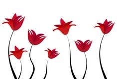 Λιβάδι των κόκκινων λουλουδιών για την ημέρα της μητέρας Στοκ Φωτογραφία