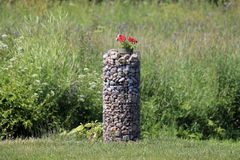 Λιβάδι χλόης φρακτών πετρών ανθών λουλουδιών λουλουδιών Στοκ φωτογραφία με δικαίωμα ελεύθερης χρήσης
