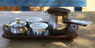 Λιβανέζικη ρύθμιση καφέ προγευμάτων Στοκ Εικόνες