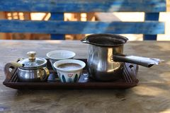 Λιβανέζικο πρόγευμα που θέτει με τον τουρκικό καφέ Στοκ εικόνα με δικαίωμα ελεύθερης χρήσης