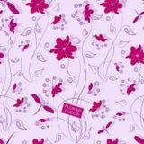 Λιβελλούλες και λουλούδια πρότυπο άνευ ραφής Στοκ Εικόνα