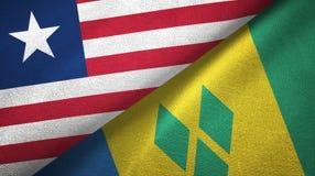 Λιβερία και Άγιος Βικέντιος και Γρεναδίνες δύο υφαντικό ύφασμα σημαιών διανυσματική απεικόνιση