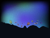 Λιβελλούλες και πεταλούδες με διαφανή ελεύθερη απεικόνιση δικαιώματος