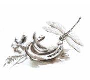 Λιβελλούλη και πέταλο Στοκ φωτογραφία με δικαίωμα ελεύθερης χρήσης