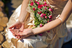 Λιβελλούλη στο χέρι μιας γυναίκας Στοκ εικόνες με δικαίωμα ελεύθερης χρήσης