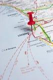 Λιβόρνο Ιταλία σε έναν χάρτη στοκ φωτογραφία