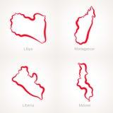 Λιβύη, Μαδαγασκάρη, Λιβερία και Μαλάουι - χάρτης περιλήψεων Στοκ εικόνες με δικαίωμα ελεύθερης χρήσης