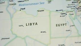 Λιβύη σε έναν χάρτη με Defocus απόθεμα βίντεο