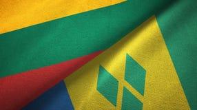 Λιθουανία και Άγιος Βικέντιος και Γρεναδίνες δύο υφαντικό ύφασμα σημαιών διανυσματική απεικόνιση