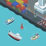Λιμάνι με τη ναυσιπλοΐα σκαφών διανυσματική απεικόνιση