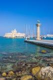 Λιμάνι Ρόδος Ελλάδα Ευρώπη Mandraki Στοκ Εικόνες