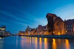 Λιμάνι στον ποταμό Motlawa με την παλαιά πόλη του Γντανσκ στην Πολωνία Στοκ Φωτογραφία