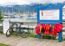 Λιμάνι της Αλάσκας Seward - τα παιδιά δεν επιπλέουν Lifevests Στοκ Εικόνες