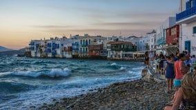 Λιμάνι της Μυκόνου, νησί της Μυκόνου, Ελλάδα Στοκ εικόνα με δικαίωμα ελεύθερης χρήσης