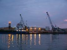 Λιμάνι τη νύχτα Στοκ Εικόνες