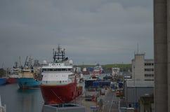 Λιμάνι του Αμπερντήν - της Σκωτίας, κύρια πύλη για το πετρέλαιο Βόρεια Θαλασσών και ανοικτής θαλάσσης βιομηχανία φυσικού αερίου Στοκ εικόνα με δικαίωμα ελεύθερης χρήσης