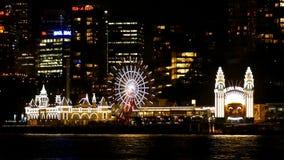Λιμάνι του Σίδνεϊ πάρκων της Luna τη νύχτα φιλμ μικρού μήκους