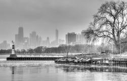 Λιμάνι B&W του Σικάγου Montrose Στοκ εικόνες με δικαίωμα ελεύθερης χρήσης