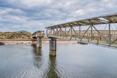 Λιμάνι Irvine στο Ayrshire Σκωτία που κοιτάζει πέρα από την παλαιά γέφυρα μου στοκ φωτογραφία με δικαίωμα ελεύθερης χρήσης