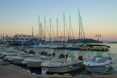 Λιμάνι Nidri τη νύχτα Στοκ Εικόνα