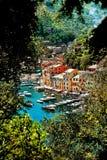 Λιμάνι Portofino με τα ζωηρόχρωμα σπίτια Ιταλία Λιγυρία Στοκ Φωτογραφίες