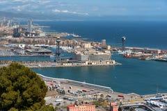 Λιμένας της Βαρκελώνης, εναέρια άποψη στοκ φωτογραφία