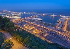 λιμένας της Βαρκελώνης city exposure long night view Στοκ φωτογραφία με δικαίωμα ελεύθερης χρήσης