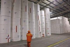 Λιμένας της Κίνας Qingdao, εργαζόμενοι πολτού αποθήκευσης αποθηκών εμπορευμάτων που μετριέται στοκ εικόνες